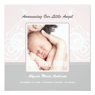 Pink Girl Photo Birth Announcement