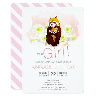 Pink Girl 'Red Panda' Baby Shower Invitation Card