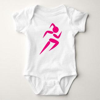 Pink Girl Running Baby Bodysuit