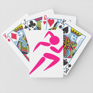 Pink Girl Running Bicycle Playing Cards
