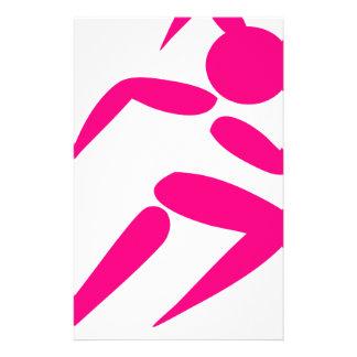 Pink Girl Running Stationery