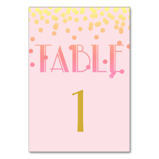 Pink Girl Shower Ipanema Party Number Table Cards