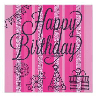 Pink Girlie Happy Birthday Banner Poster