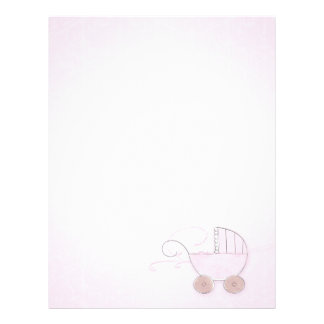 Pink Girl's Baby Carriage Customized Letterhead