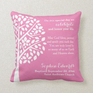 Pink Girls Baptism Christening Blessing Prayer Throw Pillow
