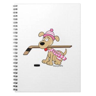 Pink Girls Hockey Cartoon Hockey Dog Notebook
