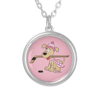 Pink Girls Hockey Cartoon Hockey Dog Silver Plated Necklace