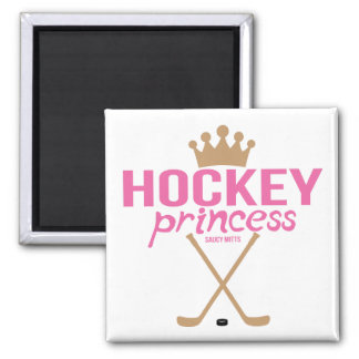Pink Girls Hockey Princess with Hockey Sticks Magnet
