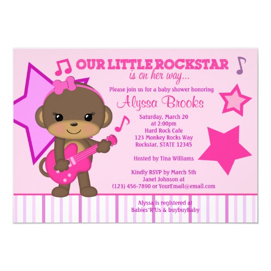 Pink Girls Monkey Rockstar Baby Shower Invitations