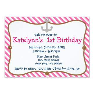 Pink Girl's Nautical Birthday Party Invitation