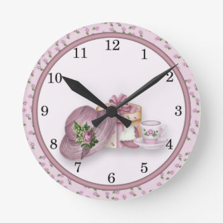 Pink Girl's Tea Party design Wall Clock