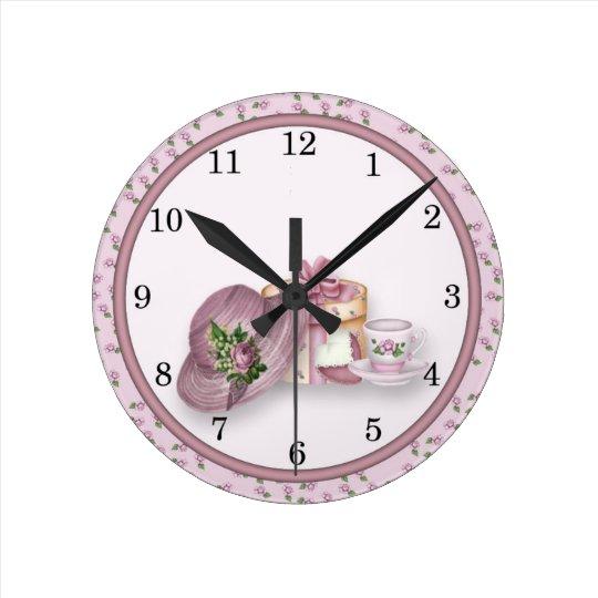 Pink Girl's Tea Party design Wall Clock