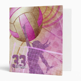 Pink Girls Volleyball name jersey number 3 Ring Binder