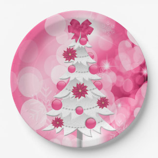 Pink Girly and Festive for the Holiday Party Paper Plate