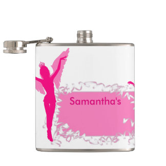 Pink girly bachelorette party hip flask
