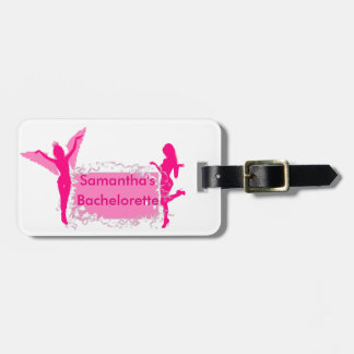 Pink girly bachelorette party luggage tag