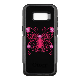 Pink Girly Butterfly Bling OtterBox Commuter Samsung Galaxy S8+ Case