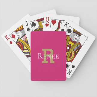Pink Girly Classy Custom Name Monogram Trendy Playing Cards