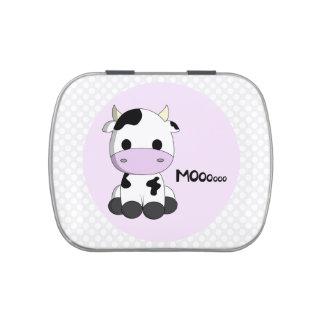 Pink girly cute cow kawaii cartoon candy tin