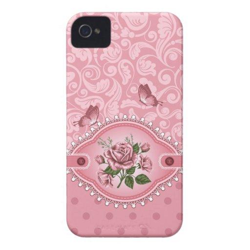 Pink Girly Cute Dots Damask Pattern Rose Blackberr Blackberry Bold Case