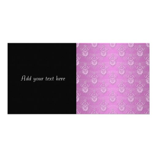 Pink Girly Damask Pattern Picture Card
