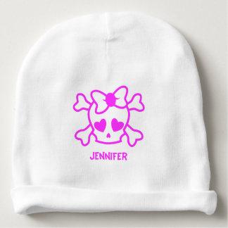 Pink girly emo skull bow name baby girl beanie baby beanie