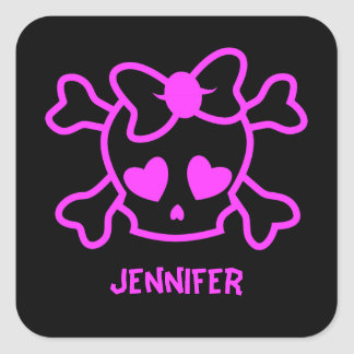 Pink girly emo skull with bow square sticker
