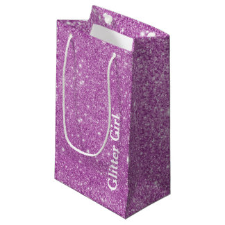 Pink Girly Glitter Girl Show Your Sparkle Small Gift Bag
