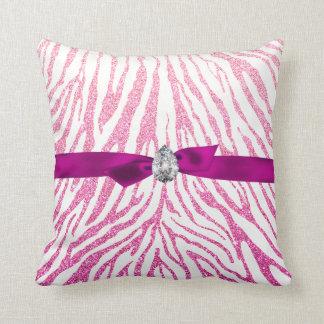Pink Girly Glitter Zebra Pattern Ribbon Diamond Throw Pillow