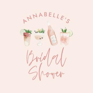 Pink girly modern cocktail script bridal shower 1 inch round button