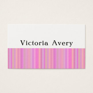 Pink Girly Modern Stripes Simple Business Card