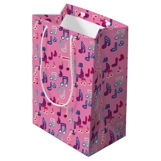 pink girly music black and white gift bag