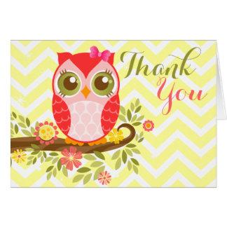 Pink Girly Owl - Custom Thank You Card