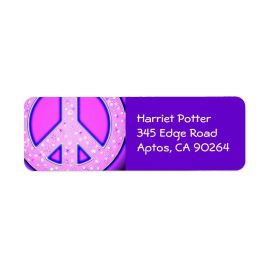 Pink Girly Peace Sign With Purple Neon Glow Return Address Label
