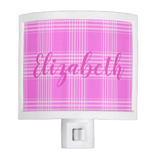 Pink girly plaid checked pattern with name night lights