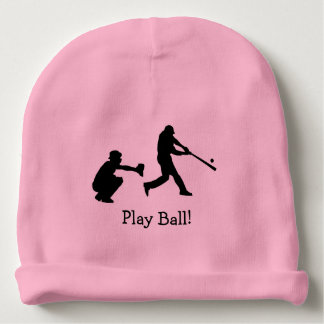 Pink Girly Play Ball Baseball Sports Baby Beanie