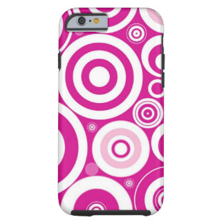Pink Girly Retro Funky Circles Pattern Tough iPhone 6 Case