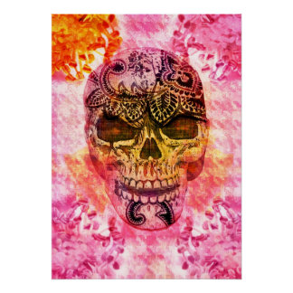 pink girly skull on houndstooth background poster