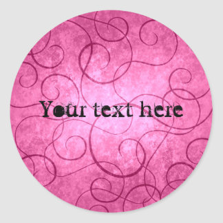 Pink girly swirls classic round sticker