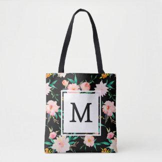 Pink Girly Trendy Monogram Floral Watercolor Tote Bag