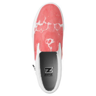 Pink, girly, water texture design, marbling paper, Slip-On sneakers