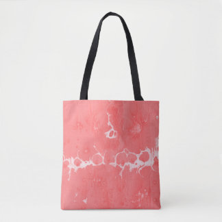 Pink girly water texture design, marbling paper tote bag