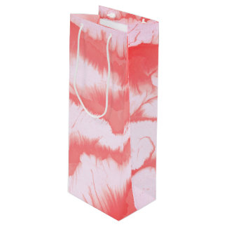 Pink girly water texture design, marbling paper wine gift bag