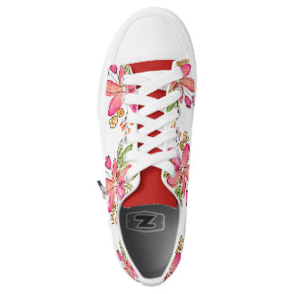 Pink girly watercolor floral design Low-Top sneakers