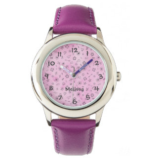 Pink girly watercolor pattern Hearts and Stars Watch