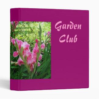 Pink Gladiolus Garden Club Binder