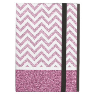 Pink Glam Faux Glitter Chevron iPad Air Cover