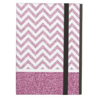 Pink Glam Faux Glitter Chevron iPad Air Covers
