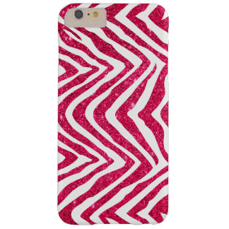 Pink Glam Faux Glitter Zebra Print Barely There iPhone 6 Plus Case