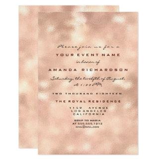 Pink Glass Peach Rose Gold Birthday  Bridal 16th Card
